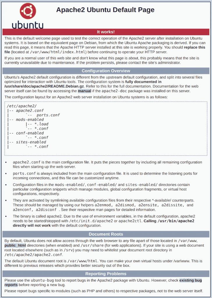 schermata iniziare web server apache