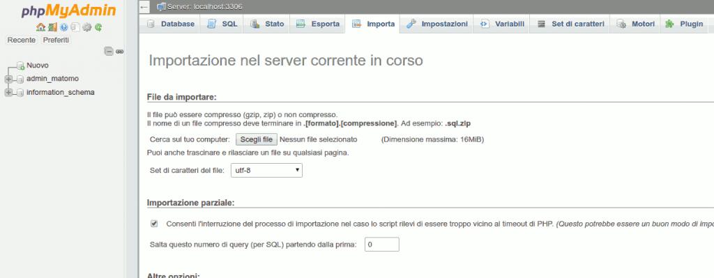 importazione database wordpress