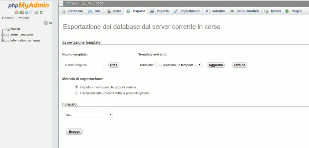 esportazione database wordpress
