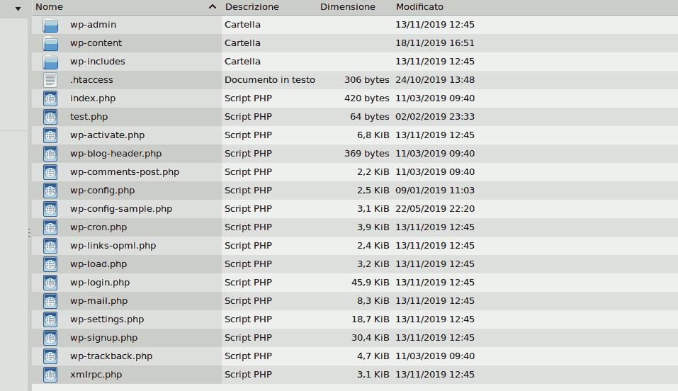 files per il backup in locale di wordpress